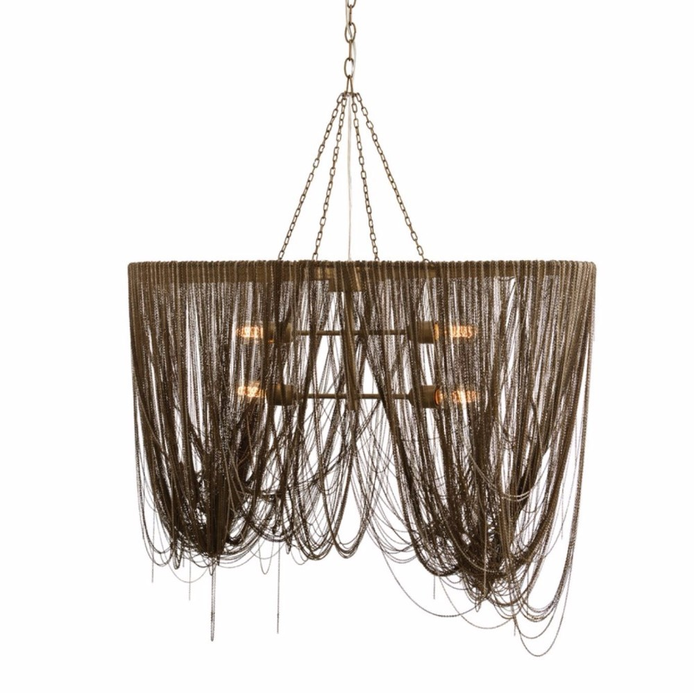 0803-15 LARGE BILLOWING INDUSTRIAL CHIC ARTERIORS HOME ANTIQUE BRASS METAL CHAIN CHANDELIER LAMP