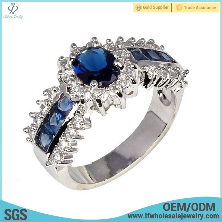 Wholesale high quality artificial finger blue diamond stone rings