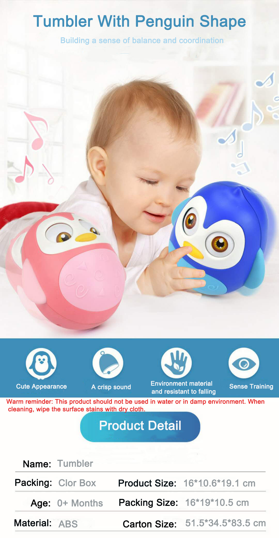 2019 High Quality Baby Lovely Cartoon Funny Baby Toys Tumbler Toy With Teether Function