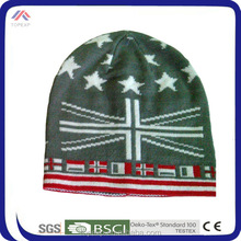 Cool Short Beanie Hat With Flag Design