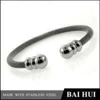Natural Stone Wholesale PVD black color Stainless Steel bangle