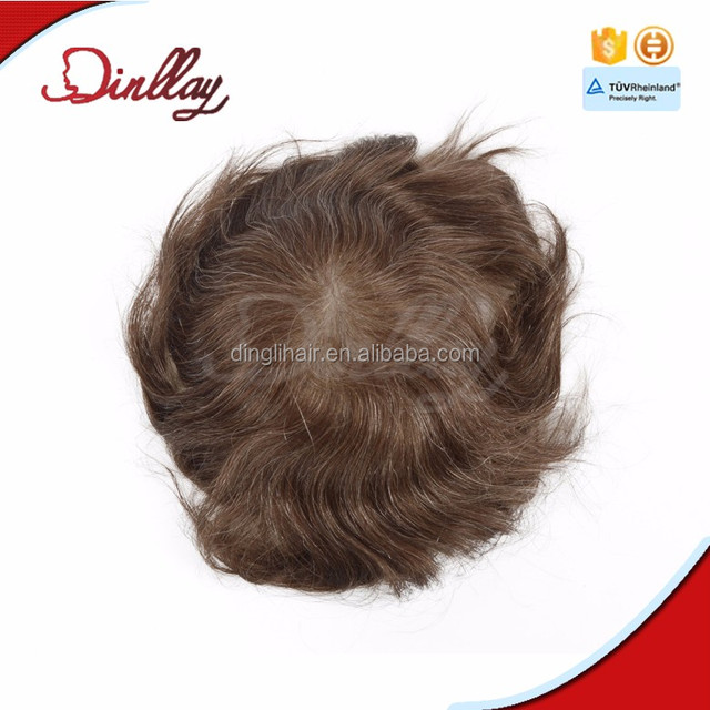 Ultra thin skin v-looped human hair toupee piece for men