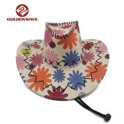Custom fashion canvas unisex china cowboy hat with adjustable rope