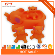 Baby bath toys elephant family set with bb whistle