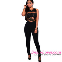 Adult Women 2016 Early Summer Hot Sale Sexy Style Black Transparent Mesh Lace Applique Jump Suit