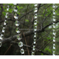 Octagon crystal/acylic bead curtains with heart design pendant for holiday decoration