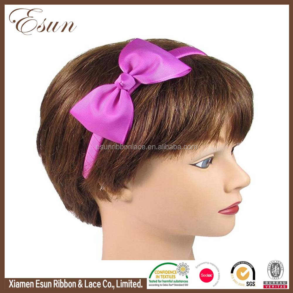 Good ribbon material cool baby girl popular hair bow with hair bands