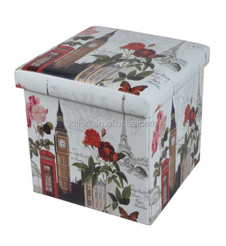 2015 PVC Printing Foldable Storage Cubes leather ottoman pouf