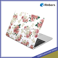 White Floral Rose Print Pattern Rubber Coated Cover Hard Case for Macbook Pro 13 13.3 15 15.4 inch