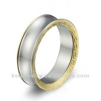 Stainless Steel Concave Ring With Goldplated