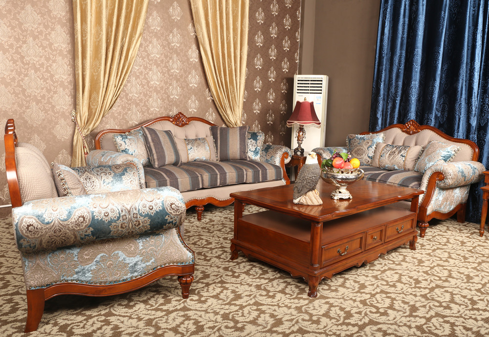 Luxury French Baroque Bright Color Living Room Sofa Set/Royal Palace Hand Carved Fabric Sofa