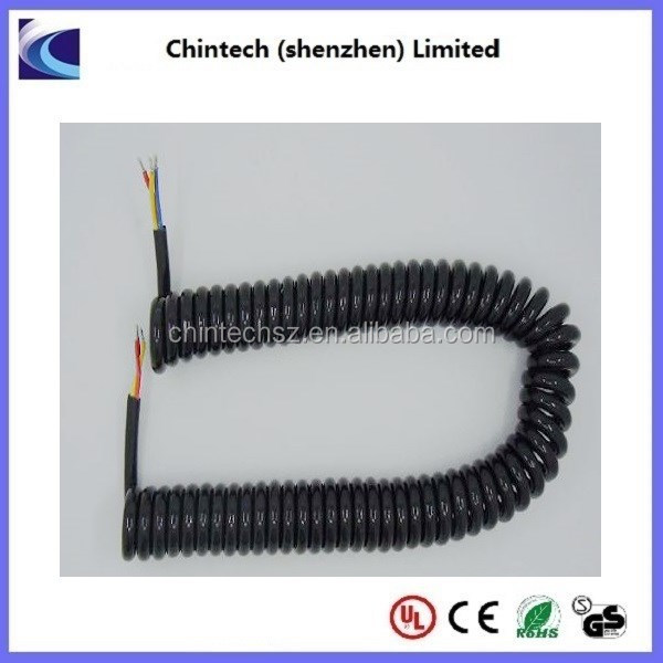 Elastic and flexible 3x0.75mm2 PU Coiled Cable