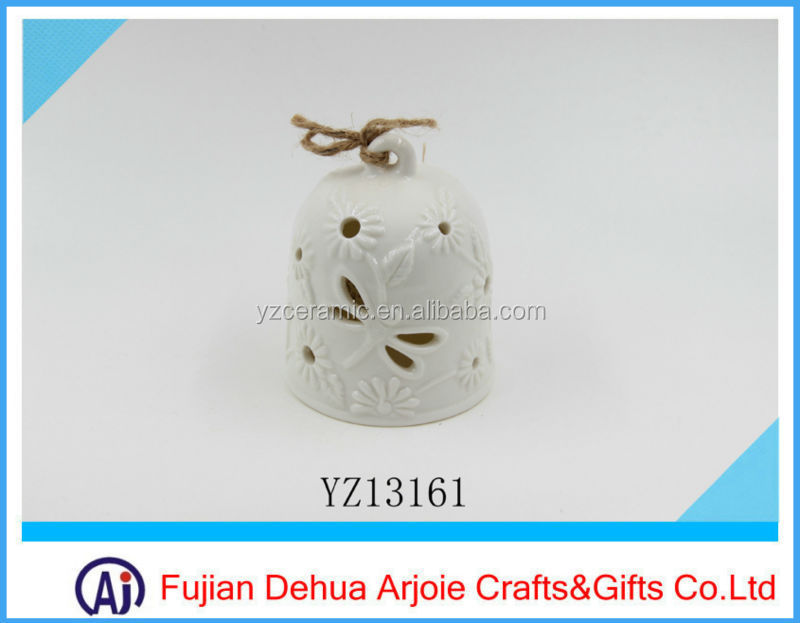 White Color Products For Decoration Porcelain Christmas Bell