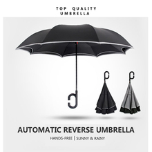 High quality automatic c handle reverse inverted umbrella windproof upside down umbrella auto open folding inverted sun umbrella