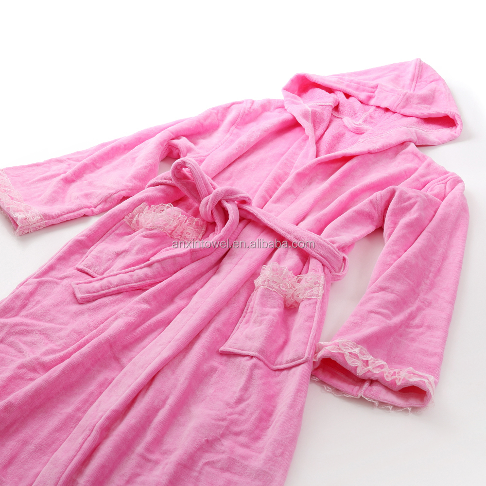 100% polyester coral fleece print long bathrobe for women Ladies night Robe