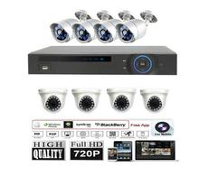 Promotion cctv products! 720p 8ch h.264 cctv 1Megapixel full HD AHD 4Indoor Dome camera 4outdoor bullet camera DVR kit