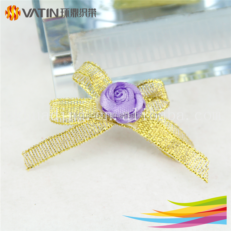 Ribbon rose decorate fancy tinsel metallic ribbon bow wholealse