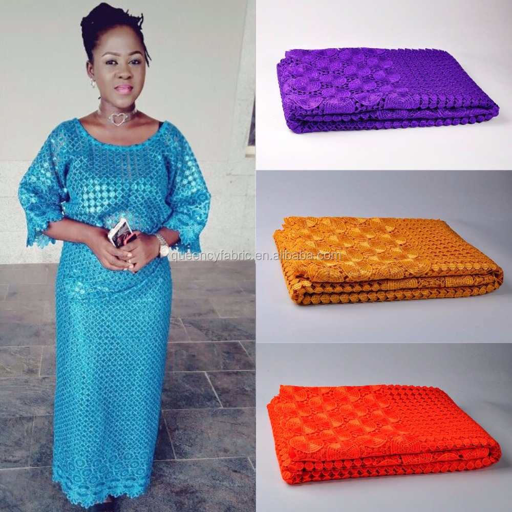 CQ160 Queency Nigerian Latest Fashion Styles Dress Fabric New Samples African Cord Lace in Multi Colors