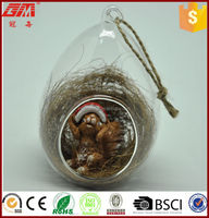 Original ecology egg shaped glass craft with animal inside