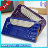 Hot Selling Glitter Wallet Crystal Crocodile Leather Case For Iphone 4/4S 5/5S