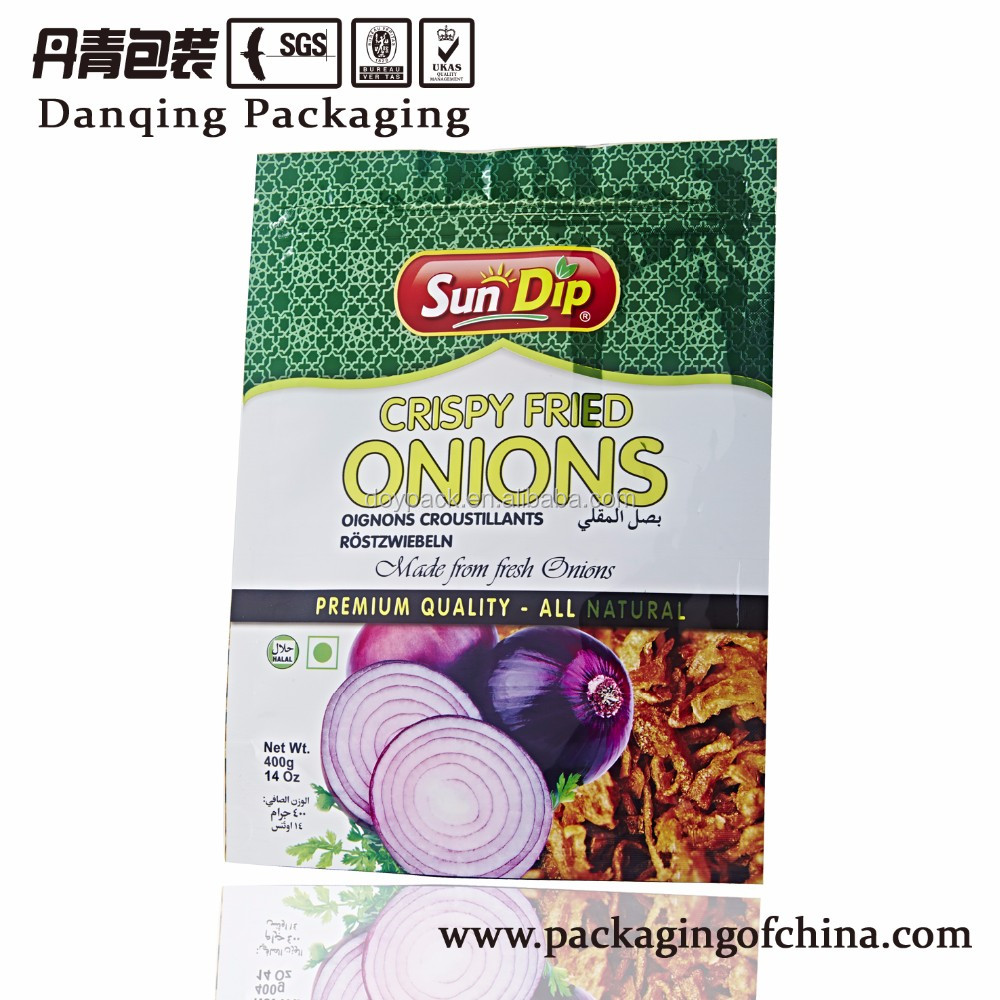 Crispy Fried Onions reclosable zip lock packging bag for food packaging Y0623