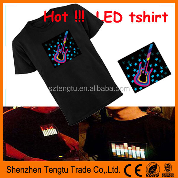 2016 hot selling Guitar logo led sound activated tshirt