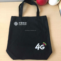 black cotton bag without gussets by heat-transfer printing