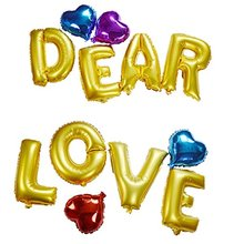 "16"" DEAR LOVE Helium Foil Balloons Assorted Color 10inch Heart Shape Wedding Party Ballons Valentine's Day Gift"