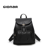 Customize hot sale free branded bags online black leather ladies cute little backpacks