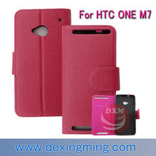 HOt sell for leather case for HTC ONE M7 mobile phone accessories