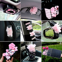 Leather with Pearl Crystal Diamond Car Interior Decoration and Accessories Set For Girls Handbrake Gear Cover Tissue Box
