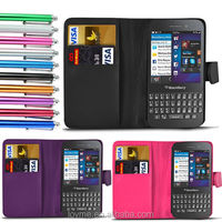 Wallet PU Leather Flip Pouch Card Slot Case Cover For Blackberry Q5