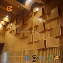 Wall Art Fireproof Wood Real Veneer Wood Wash Paint Acoustic Panels For Room Dividing
