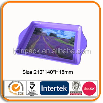 wholesale rectangular custom painted tin tray metal plate tin tray for tourist souvenir