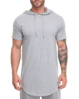 AHD065 Wholesale short sleeve hoodies with curved hem made in china
