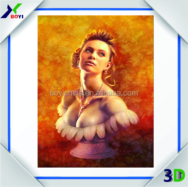 Hot selling sexy girl 3D lenticular decorative pictures for bathroom/home decoration