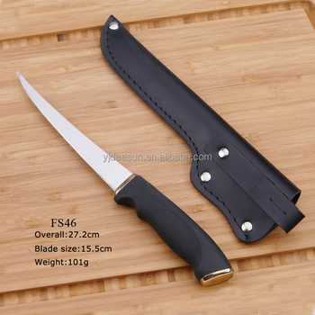 Stainless Steel Outdoor Camping Fish Knife With rubber handle
