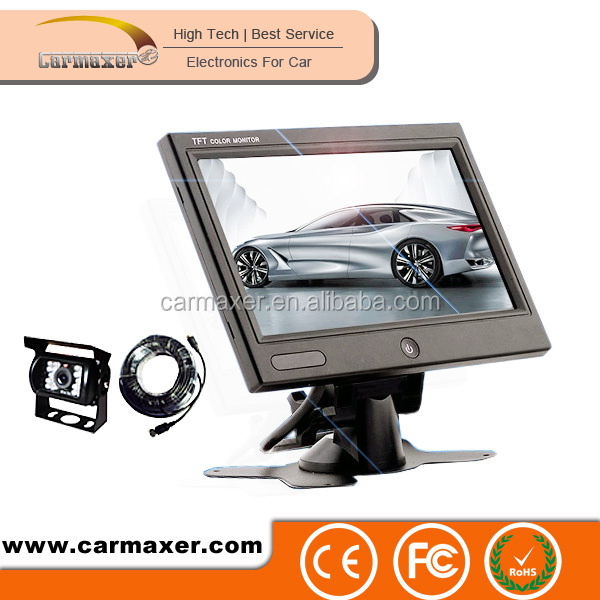 one button high pixels digital screen 7inch car pillow tft lcd monitor for car + bus + truck use