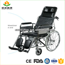 Multi-purpose aluminum solid wheel high back reclining wheelchair and using easily for disabled or elderly people