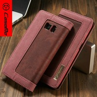 2016 Wholesale Premium Canvas+Jean PU Leather Mobile Phone Flip Cover Case / Card Slots Flip Case for Samsung Galaxy S7 S7 edge