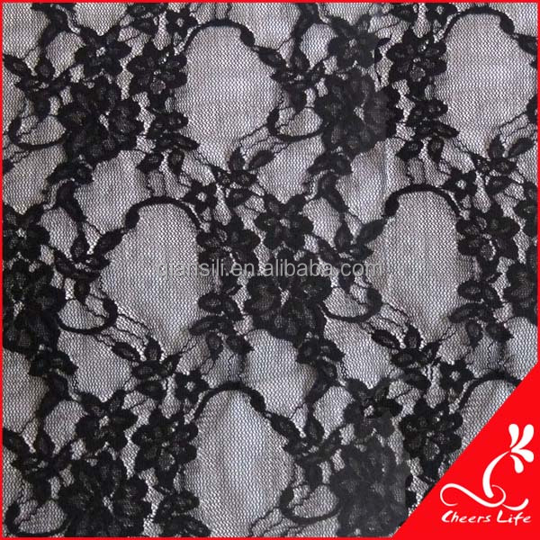 cheerslife QS9110 black elastic lace fabric for evening dress