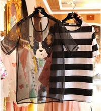 THE NEW SUMMER 2014 STEREO PATCH DOG NAIL BEAD ORGANZA STRIPE T-SHIRT TWO DRESSES