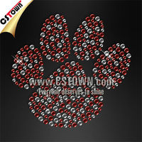 Two colors rhinestone paw iron on transfer