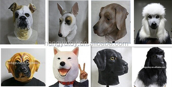 Manufacturer Wholesale Masquerade Ball Fancy Dress Latex Animal Costume Latex Bull Dog Mask