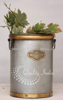 Metallic Cylindrical Bucket Flower Vase