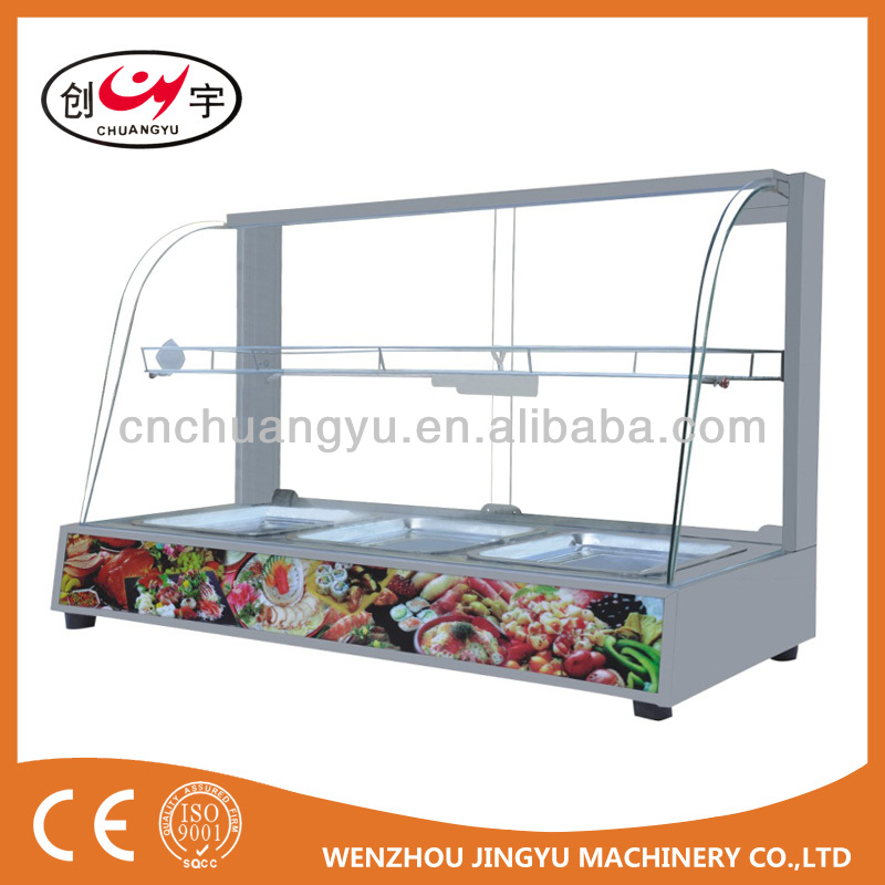 stainless steel glass Food Warmer Showcase/ Display Cabinet CY-97G