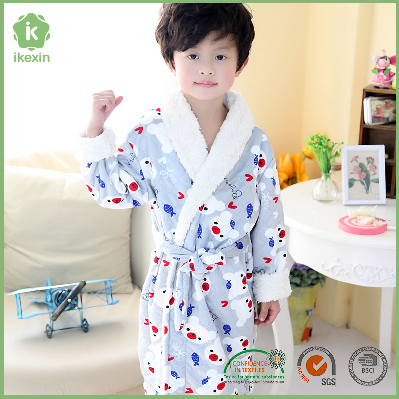 Cute Printed Cozy Plush Fleece Baby Boy Bathrobe