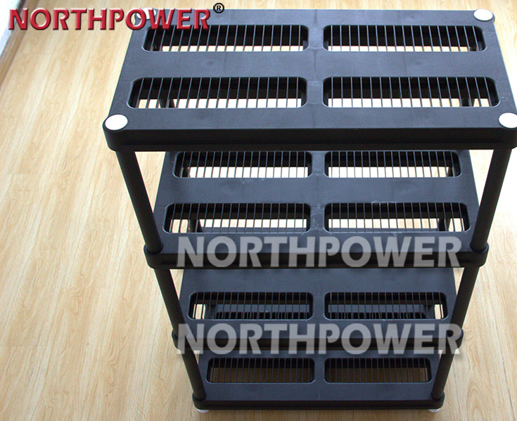 Durable 18 inch 4Tier warehouse plastic storage shelf rack