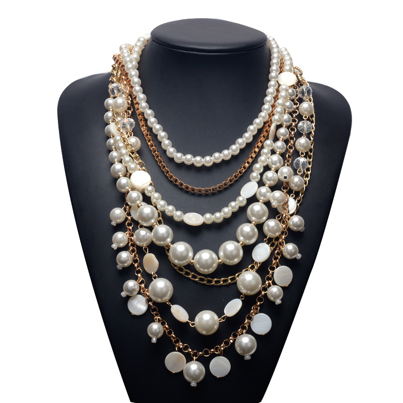 2016 Trend fashion pearl multilayer necklace long pearl necklace pearl chain statement necklaces