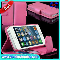 stand for iphone 5 with 3 card slots wallet leather case